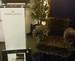 A chair made of pencils, part of the Faber-Castell display.