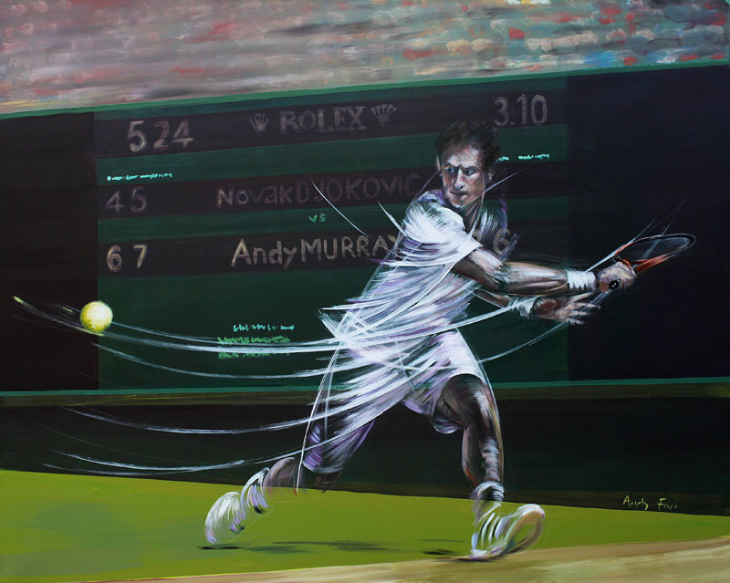 Murray Wimbledon by Andy Farr Acrylic on box canvas