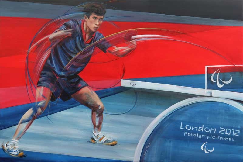 Table Tennis by Andy Farr acrylic on box canvas