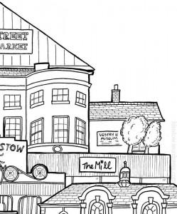 Detail of Stow Buildings by H Locke