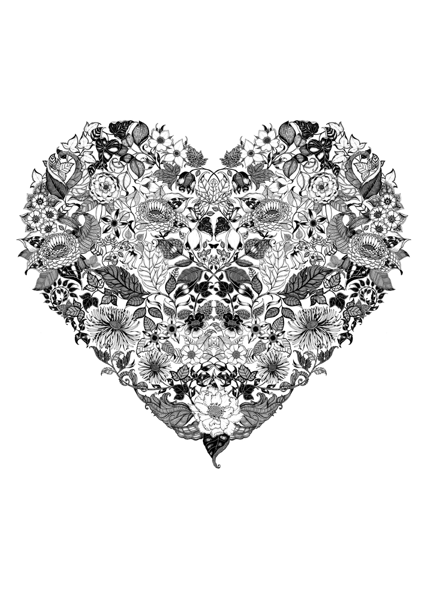 Intricate Hearts Colouring Pages page 2