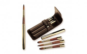 Pro Arte : Brushes Travel Watercolour Set of 3 Retractable Pro Arte Brushes in 3 shapes all in a leather wallet
