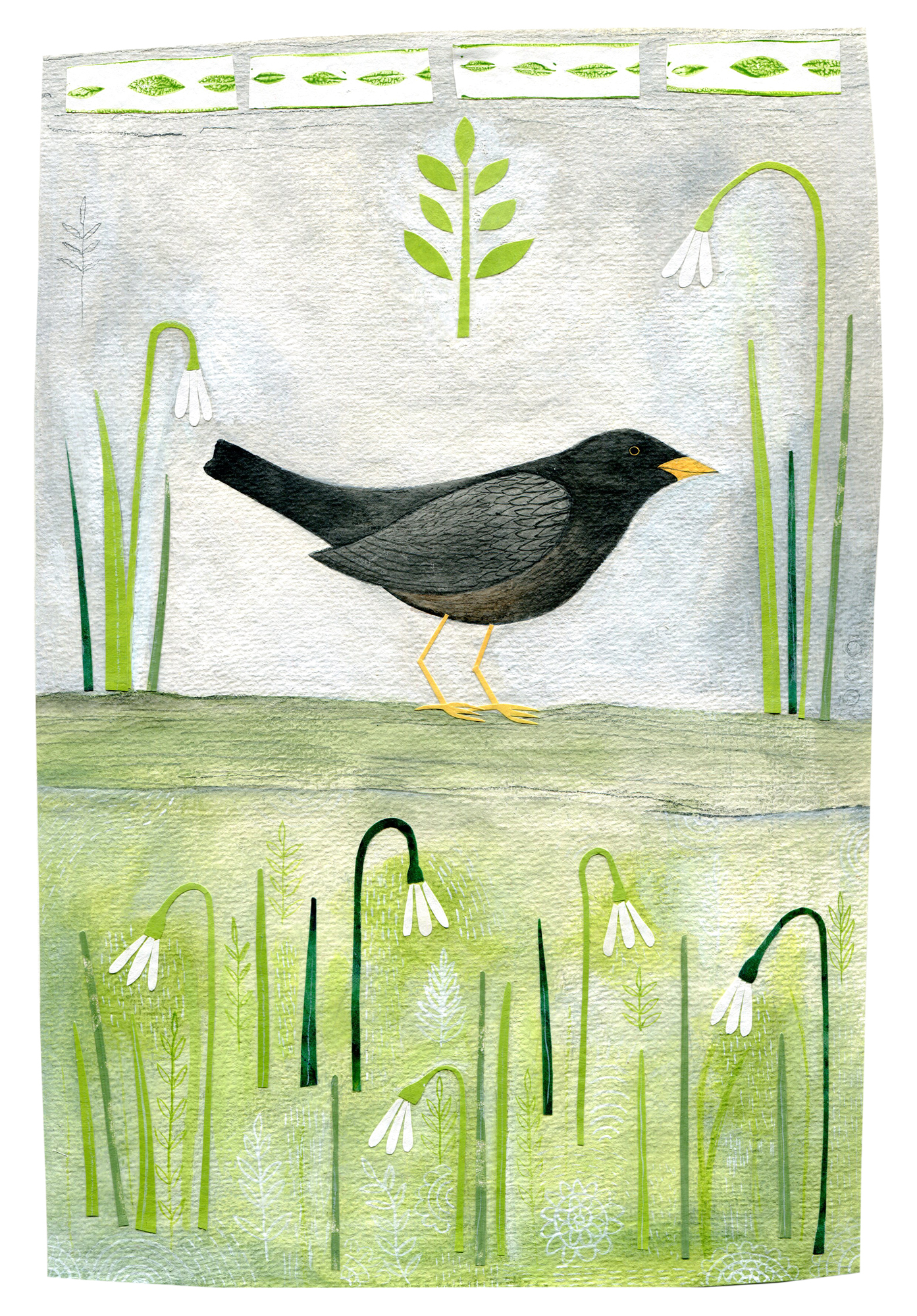 'Blackbird with Snowdrops' by Chloe Redfern, mixed media collage on Khadi paper, 28x19cm