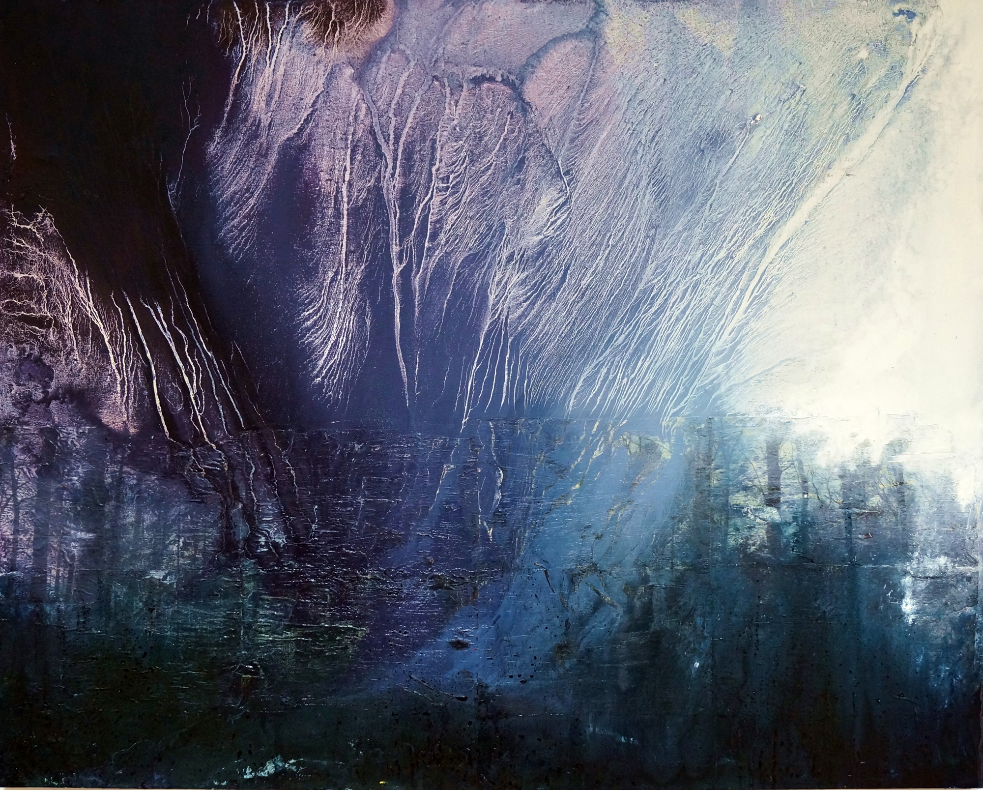 'Fragmentation 2' (2013) by Christine Levis, Oil paint & photo transfer on canvas (153 x 122 cm)