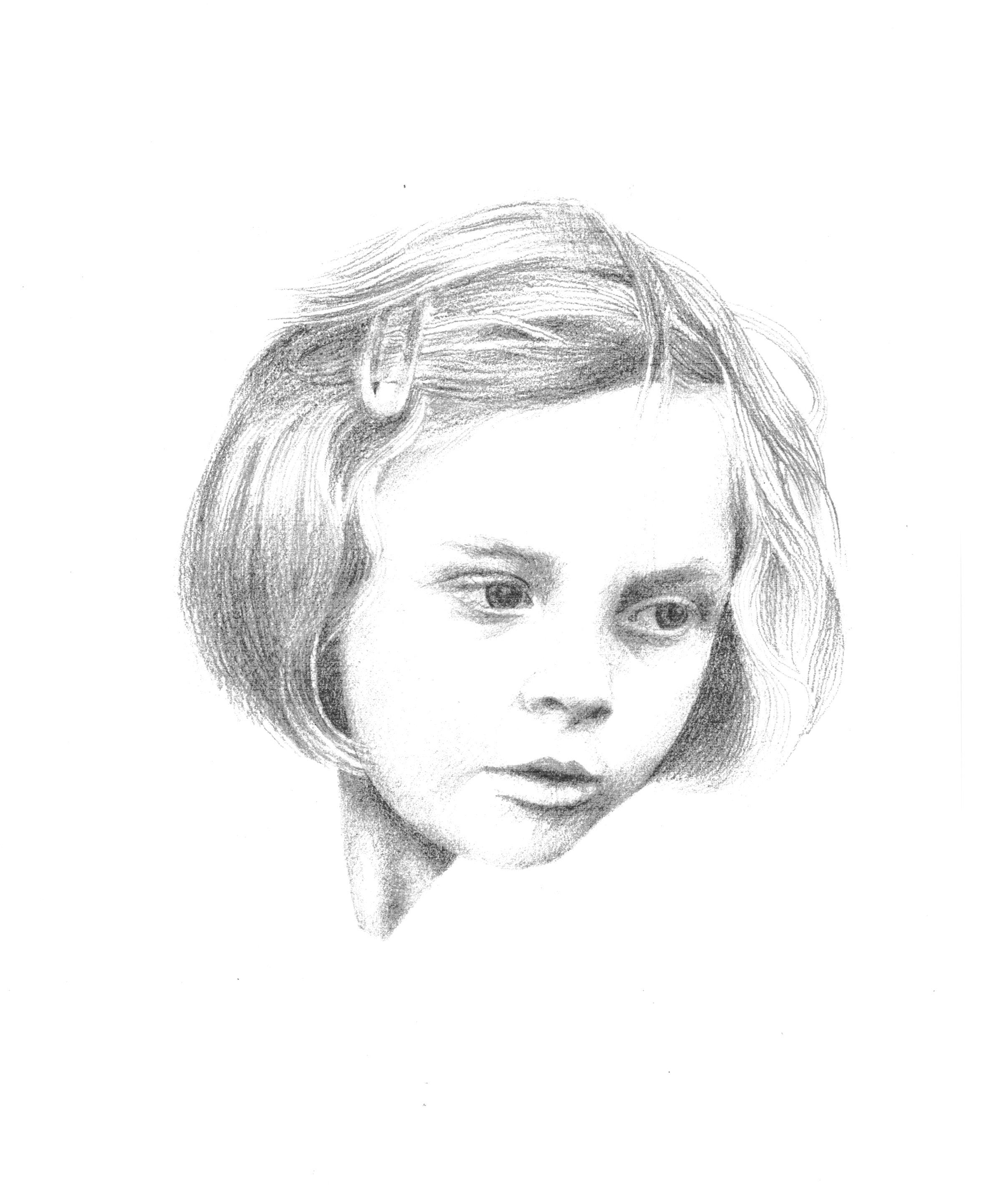 'Amelia' by Toni Hayden, pencil drawing, 2013