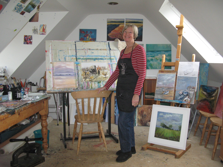 Pat Tinsley in her studio