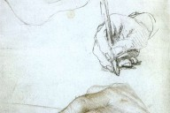 Hans Holbein the Younger, drawing  Studies of the Hands of Erasmus of Rotterdam, c. 1523