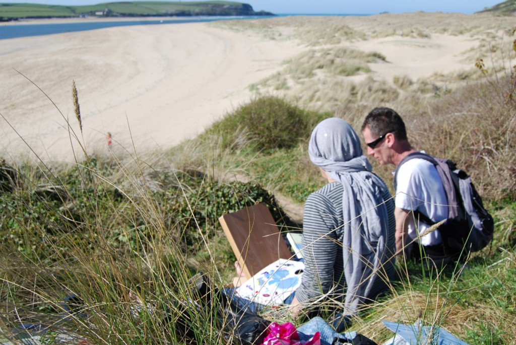 Ashley teaching in Rock & the Camel Estuary 5 Day Painting Hol