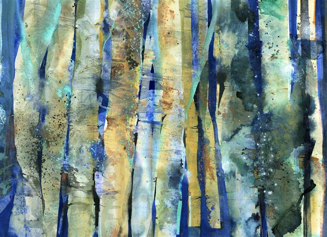 Birch I Watercolour and ink on St Cuthberts Mill Bockingford Rough paper  106 x 86cm  2013