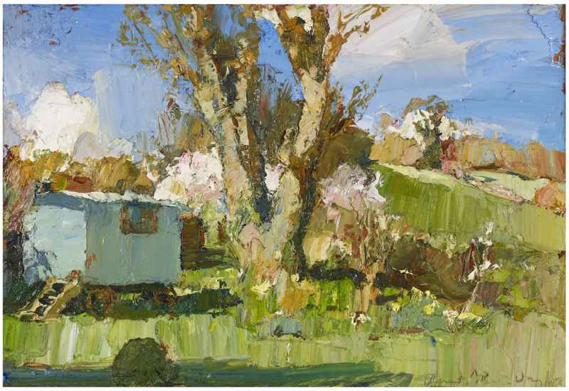 Spring Garden Oliver Akers Douglas Oil on Aluminium 13 x 18 ins