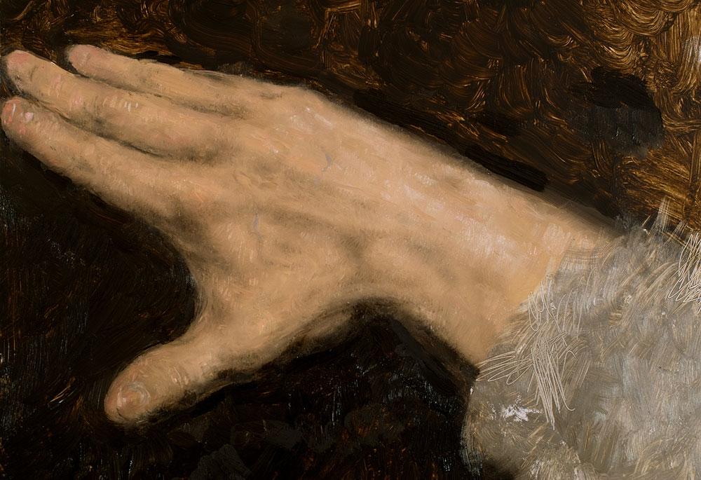 hand study in oil on jacksons aluminium panel