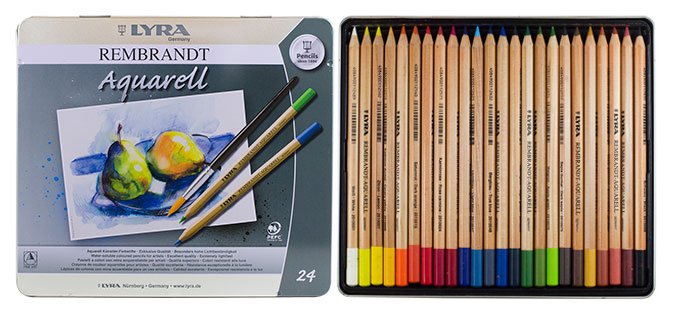 Lyra rembrandt aquarell water soluble coloured pencil set metal box jacksons art