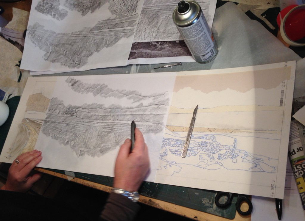 Suzie MacKenzie: Taking a rubbing from a collograph plate-in-progress to get an idea of what a print from it would look like
