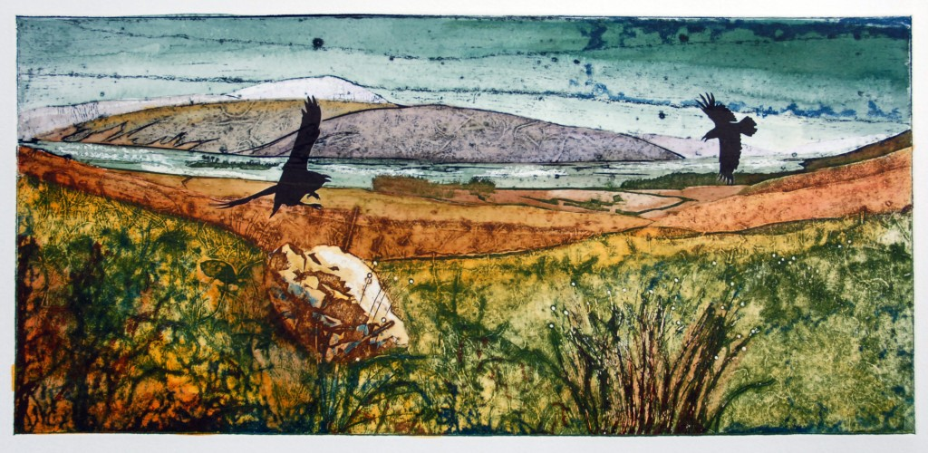 Suzie MacKenzie: Flood in  the Strath, Hand coloured collagraph, varied edition of three, 57cm x 26cm