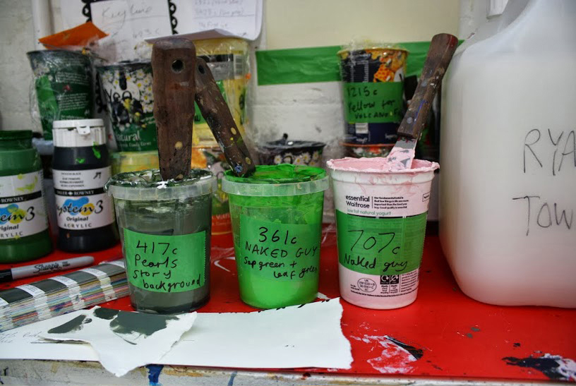 Some pots of ink for Rob Ryan's screen prints