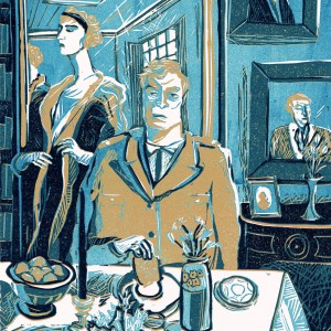 'Parade's End internal illustration, Tietjens & Sylvia' by James Albon R.E. 50x35cm Reduction Linocut