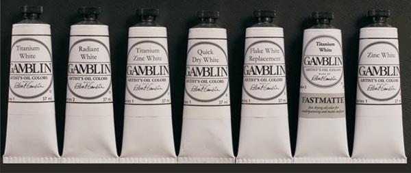 From left: Titanium White, Radiant White, Titanium Zinc White, Quick Dry White, Flake White Replacement, FastMatte Titanium White, Zinc White.