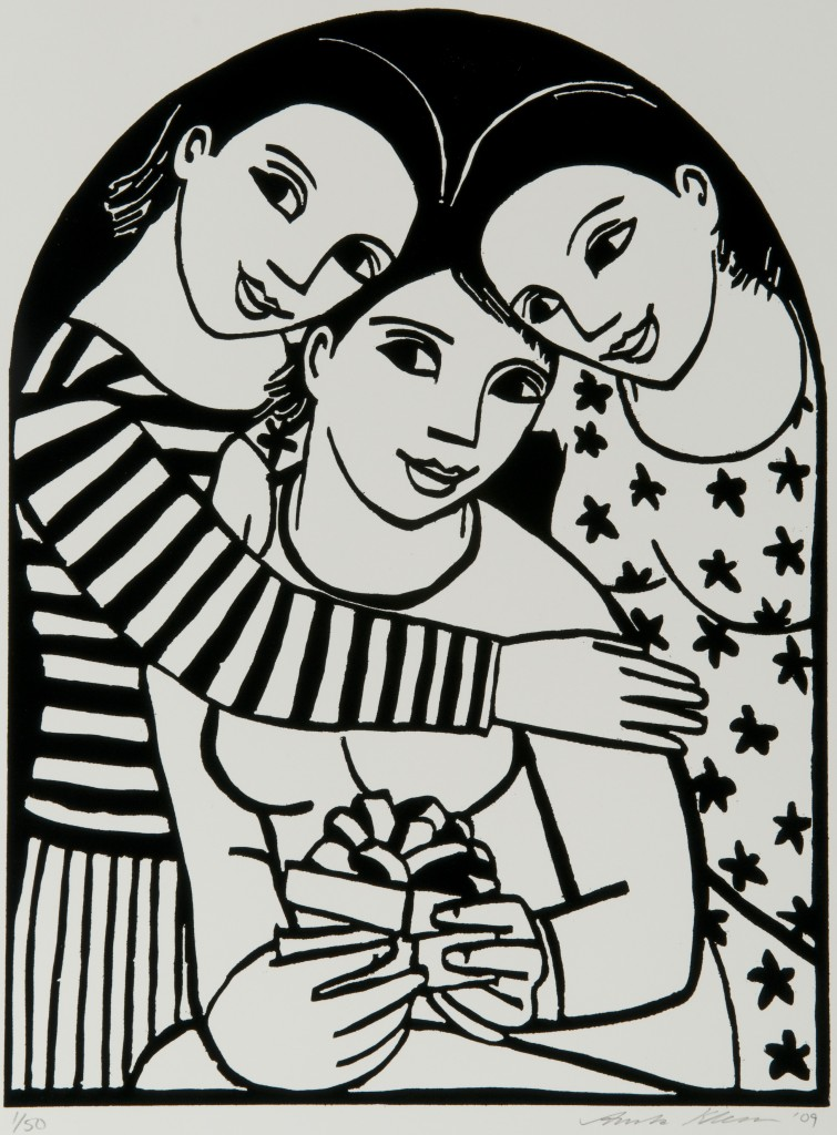 'The Birthday Gift' by Anita Klein Woodcut - edition of 50
