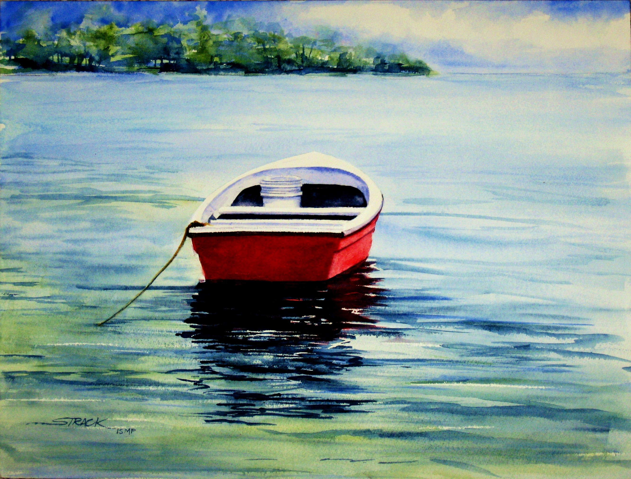 Red Dinghy by Annie Strack, watercolour