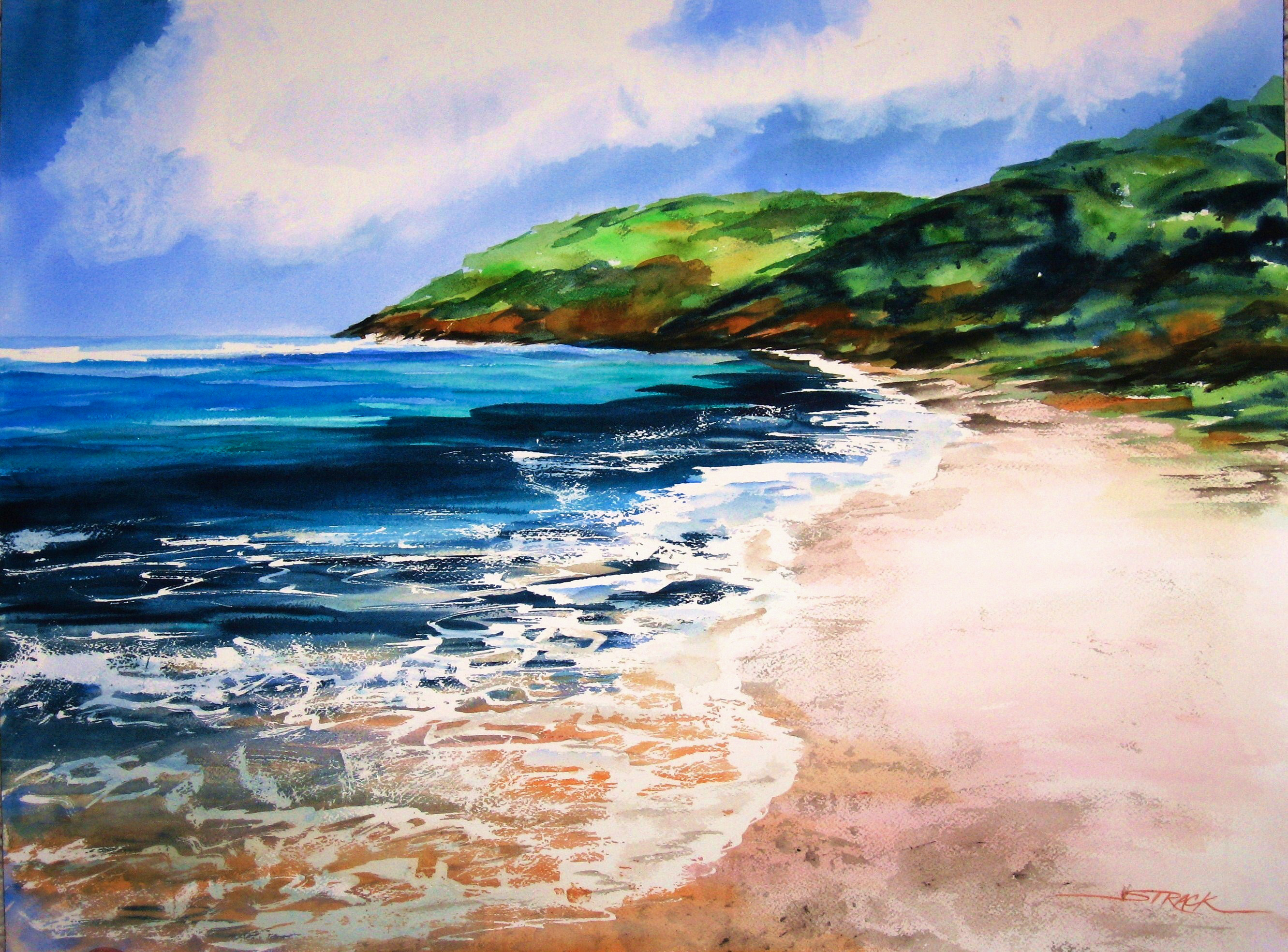 Tropical Beach by Annie Strack, watercolour