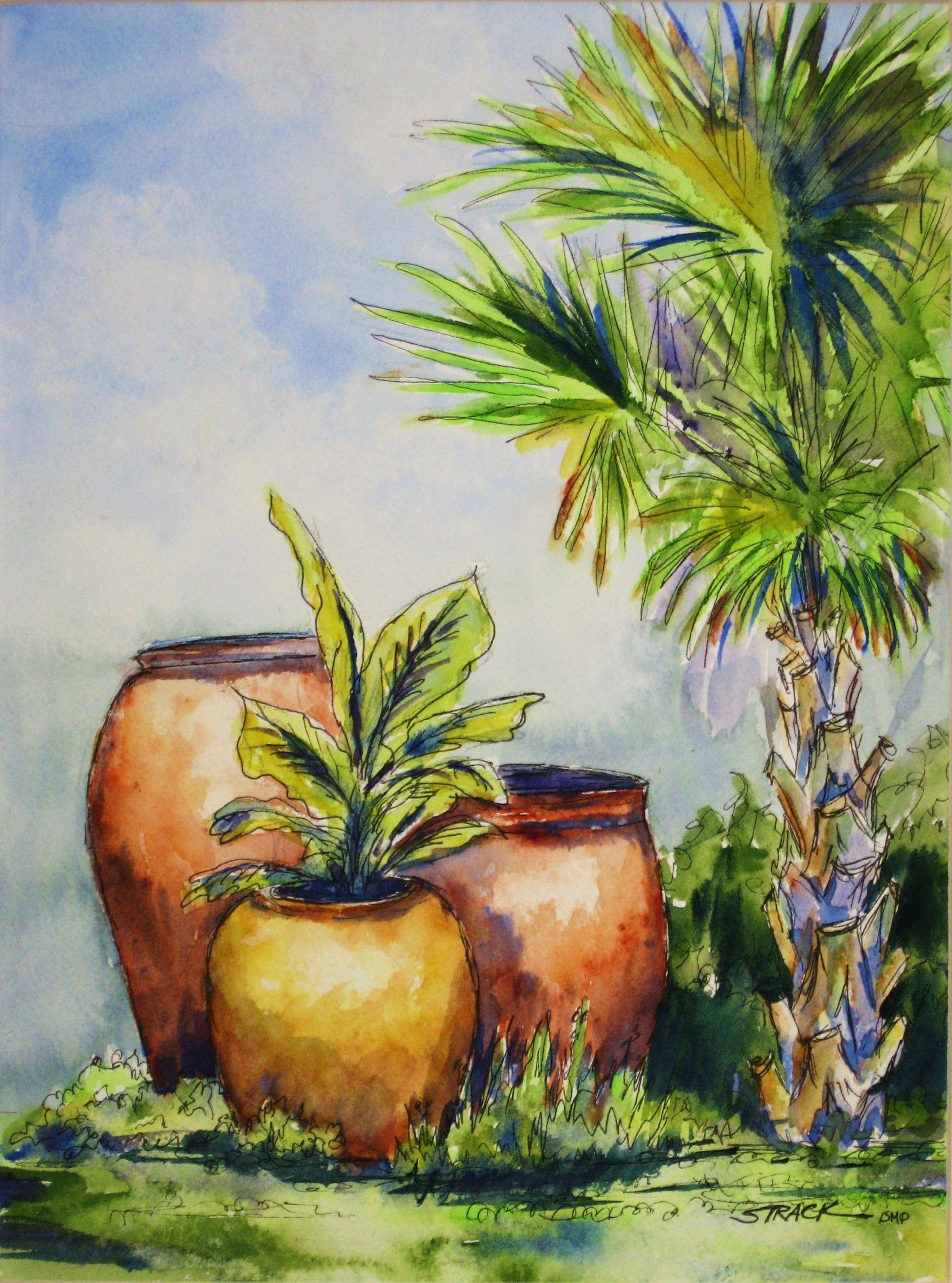 Claire's Garden by Annie Strack, watercolour with pen and ink