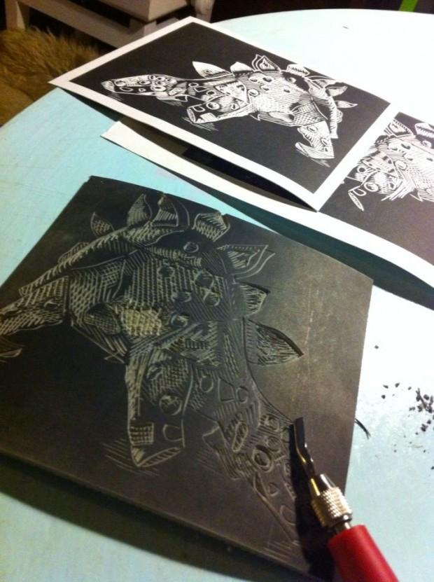 Katja Rosenberg Steg the linoprint