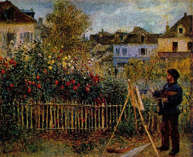 Claude Monet Painting in His Garden at Argenteuil, 1873, by Renoir