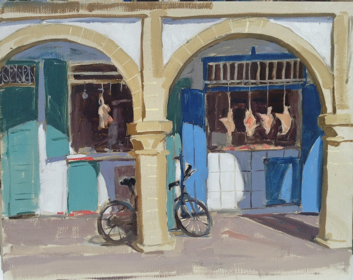 "Haidee-Jo Summers Butchers shop in the medina, Essaouira Oils 10"" x 14"""