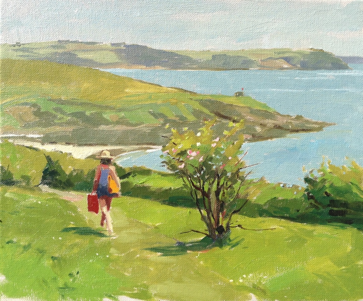 "Haidee-Jo Summers Going to the beach, Porthcurnick Oils 10"" x 12"""