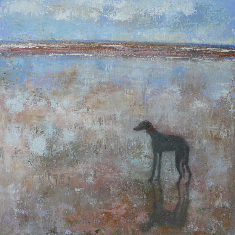 Greyhound at March Tide Anna Wilson Patterson Oil on Wood 30cm x 30cm