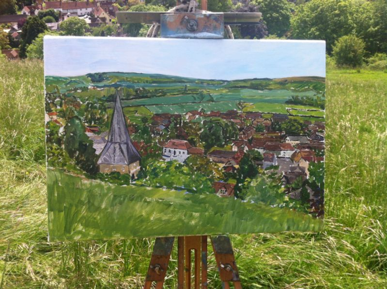 Completed underpainting of East Meon