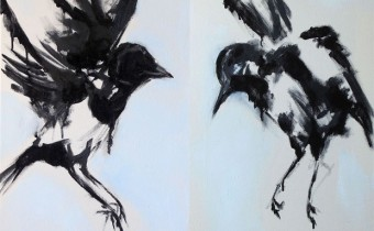 Hannah Ivory Baker oil painting Magpies