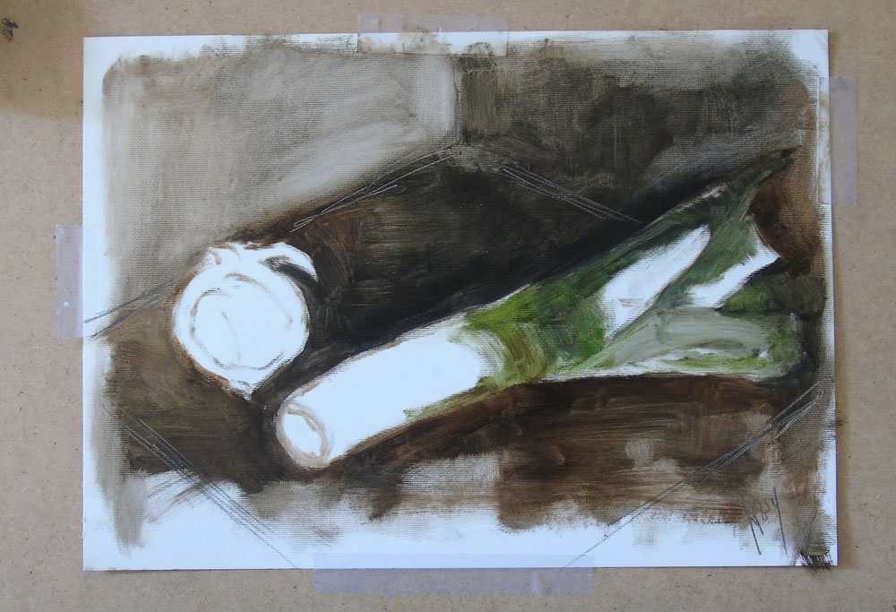 Hannah Ivory Baker underpainting 'Leek & Red Onion'