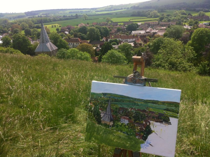 Underpainting of East Meon (mostly done) with view, by Emily Faludy