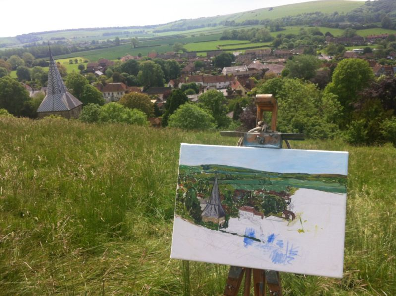 Underpainting of East Meon with subject
