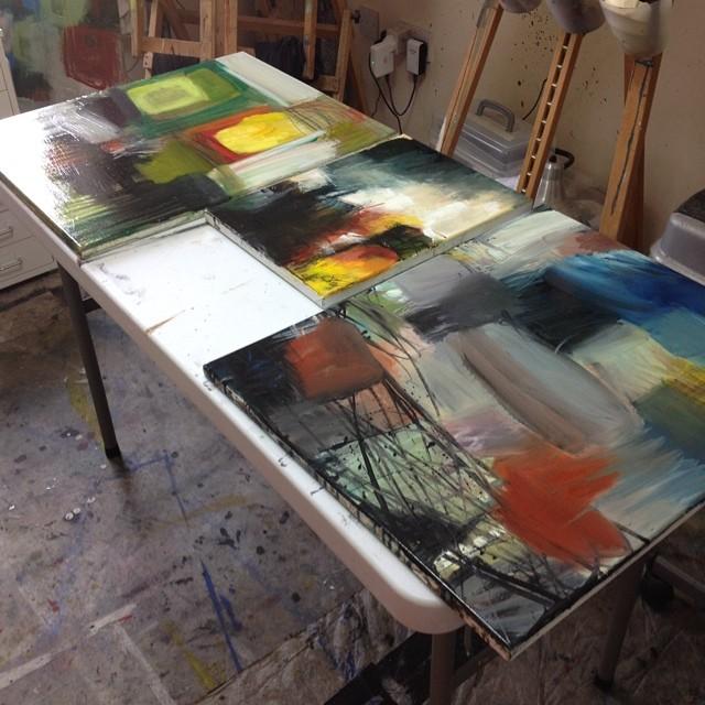 Jen Dixon paintings and Jacksons varnish