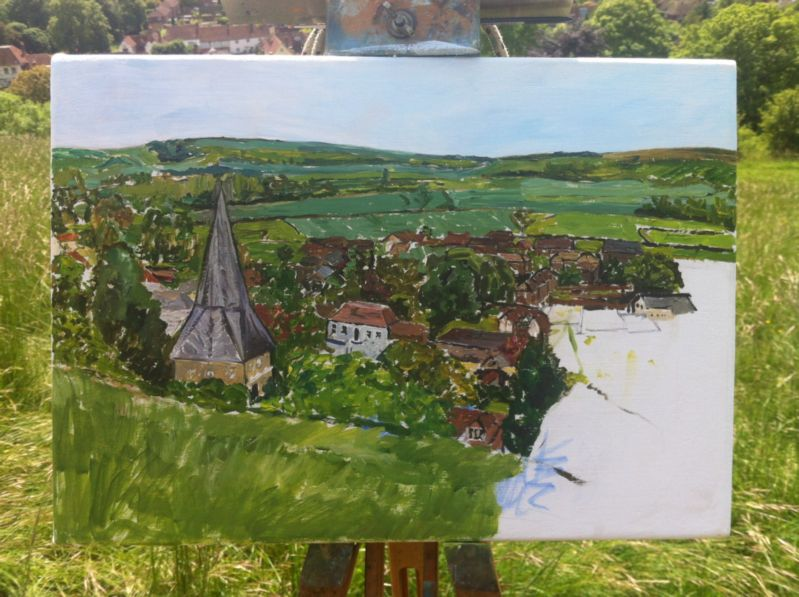 underpainting of East Meon in progress by Emily Faludy