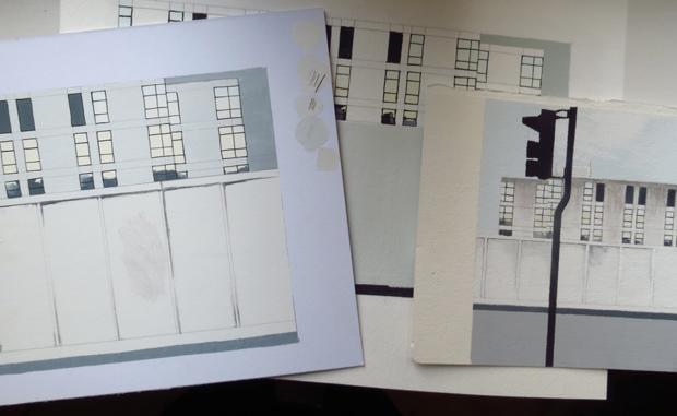 Gillian Swan sketches using Turner Acryl Gouache