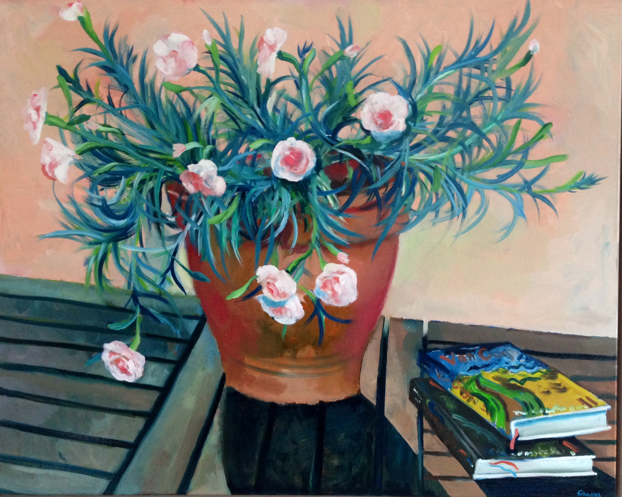 """'Carnations with Books' by Conrad Frankel, oil on canvas, 24"""" x 30"""""""