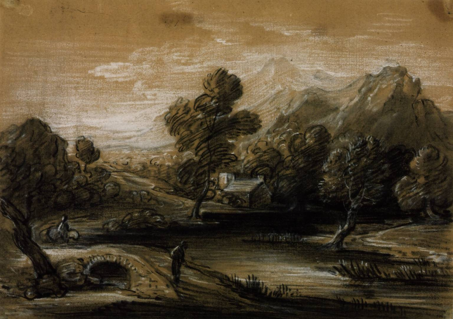 Wooded Mountain Landscape with Figures, Church and River circa 1785-8 Thomas Gainsborough 1727-1788 Presented by T. Birch Wolfe 1878 http://www.tate.org.uk/