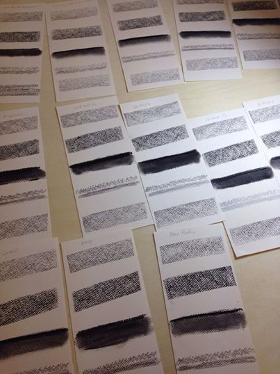 smudge test cards prepared for fixative