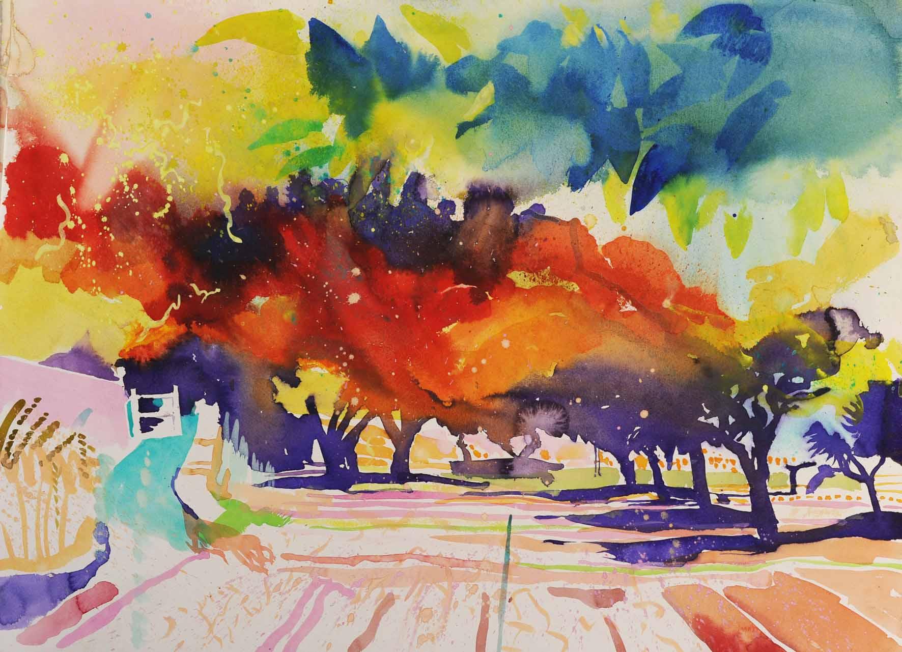 Simon Fletcher: 'Paysage de Ragondin', Watercolour on Paper