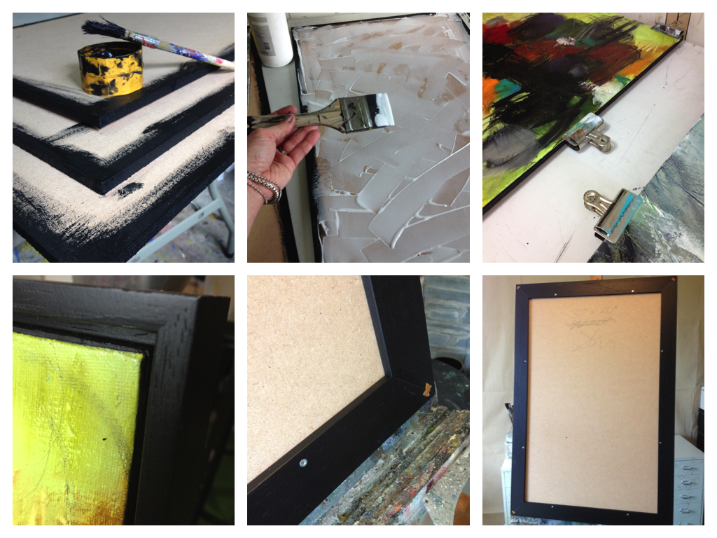 Jen Dixon shows us step-by-step as she mounts frames a painting on a panel
