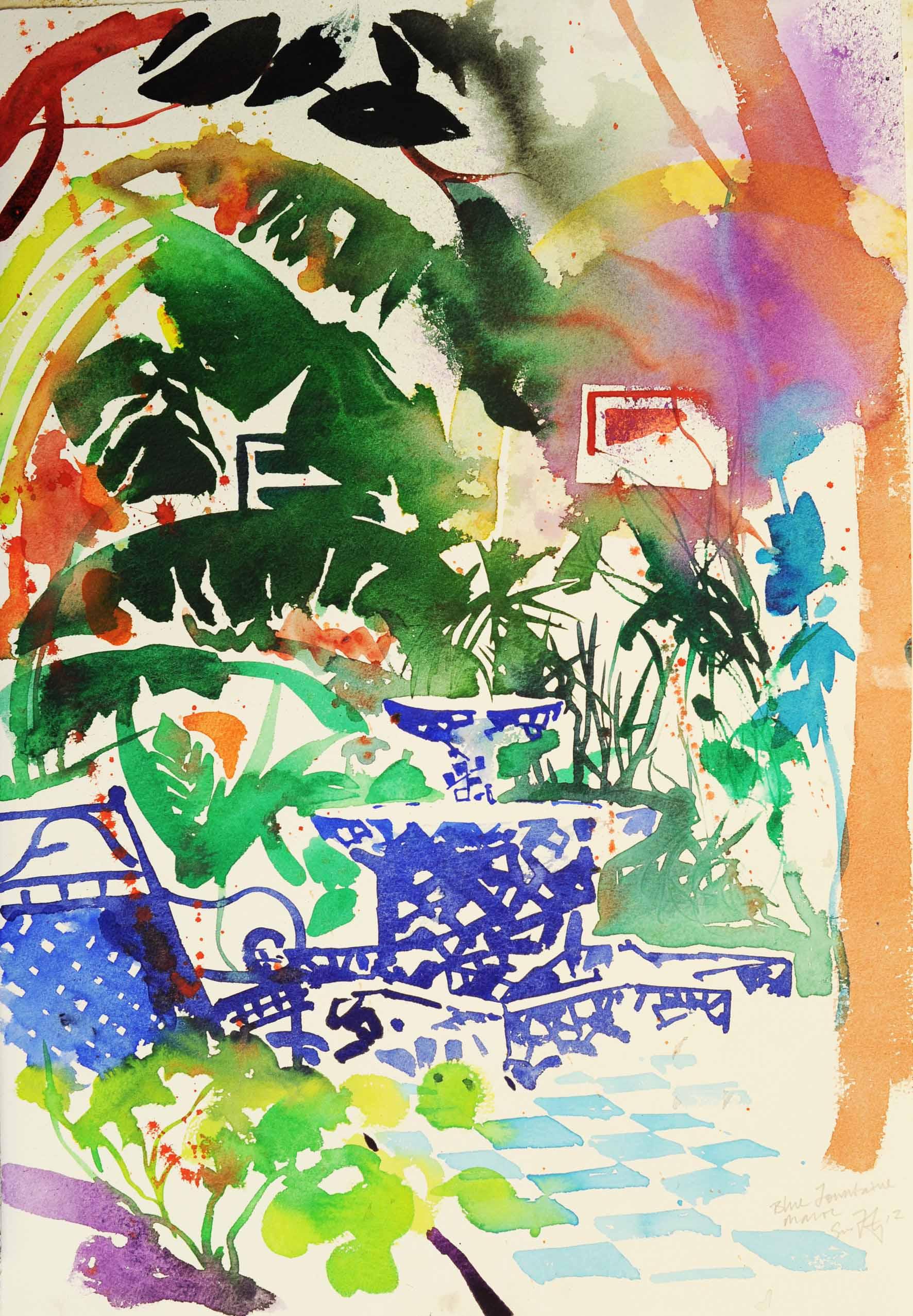 Simon Fletcher: 'Fountain, Morocco', Watercolour on Paper