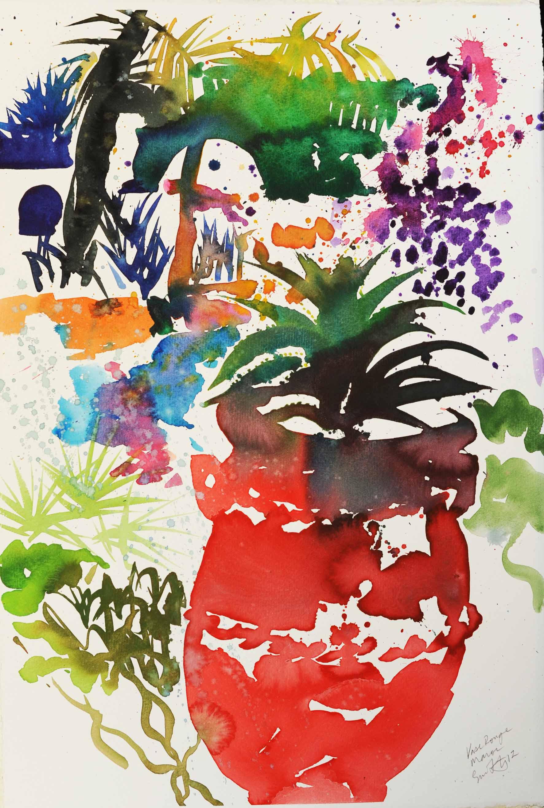 Simon Fletcher: 'Jardin des Douars Morocco', Watercolour on Paper