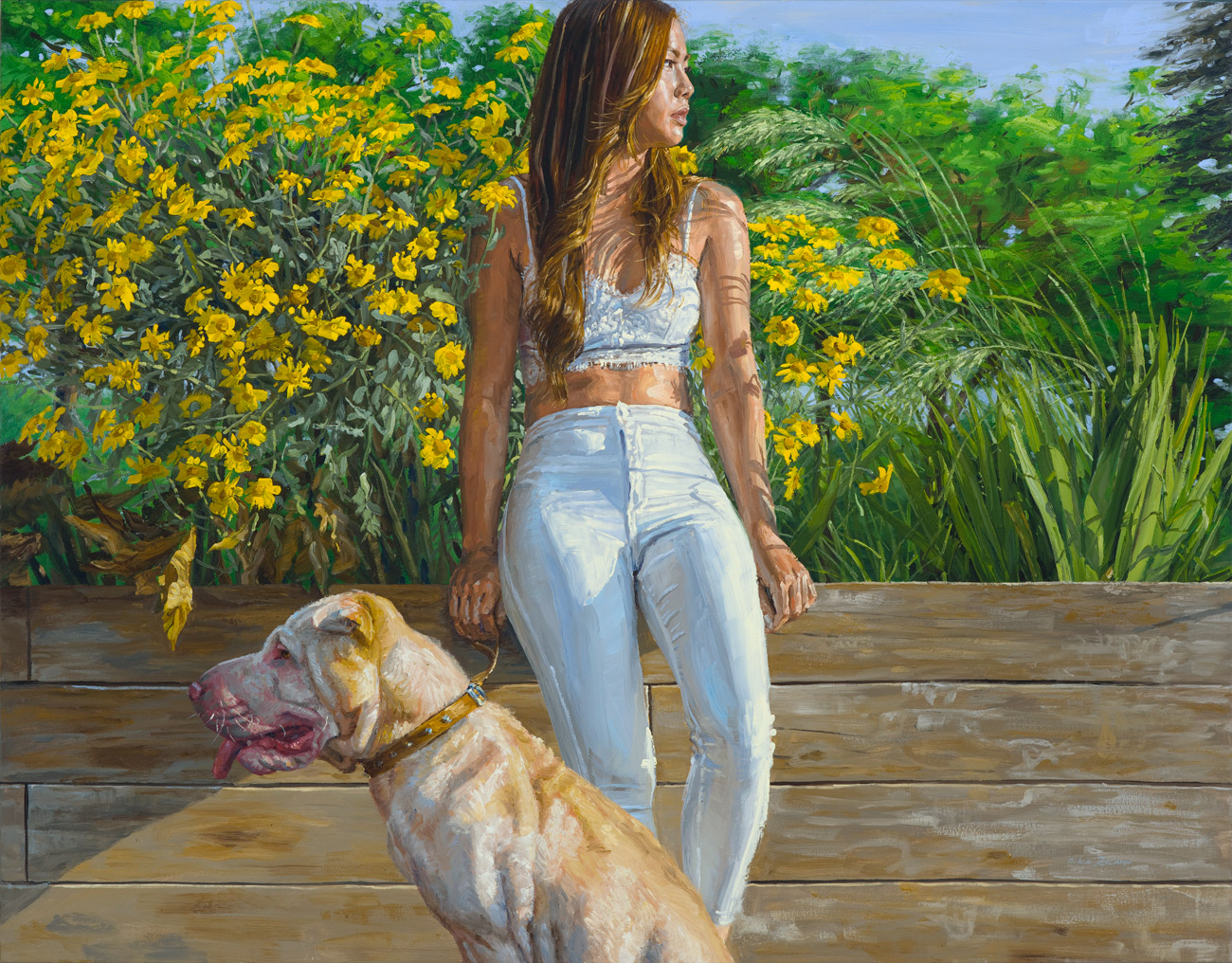 Michele Del Campo: 'Girl and Dog', oil on canvas