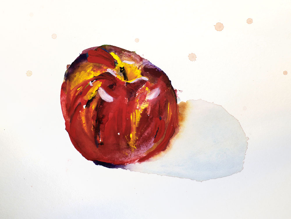 Apple sketch using ShinHan Pass paint by Julie Caves