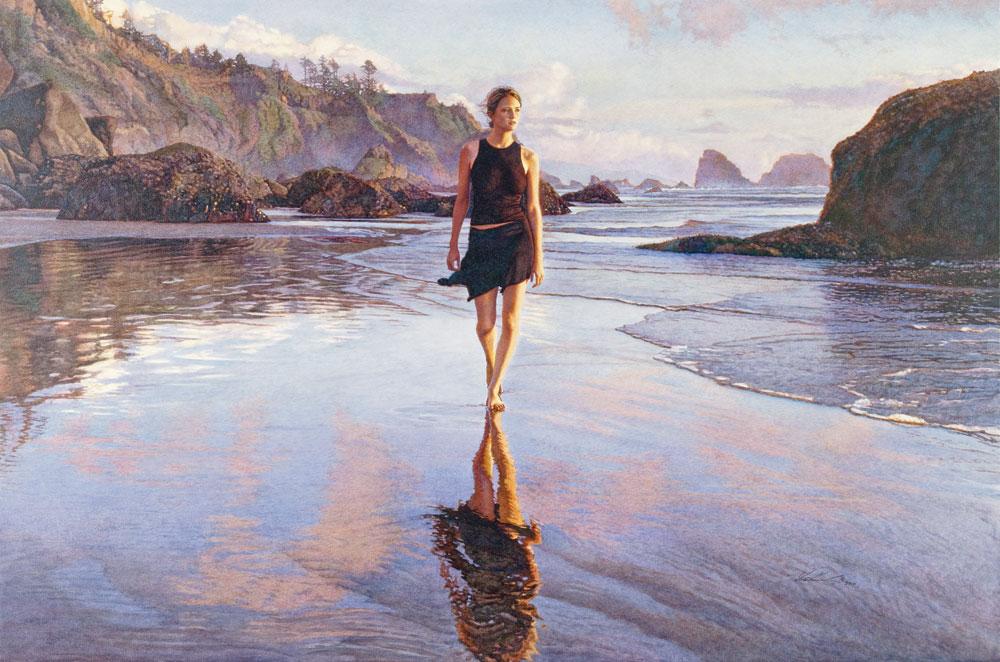 "Steve Hanks Love Like a Sunset watercolour on Aquabord, 35""x52"", 2012 www.eslawrence.com"