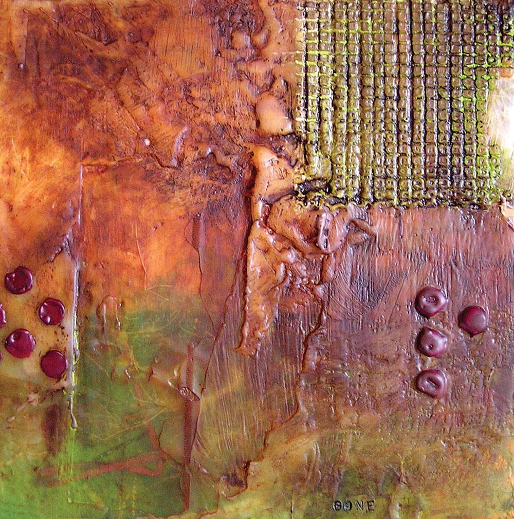 "Patricia Baldwin Seggebruch Gone encaustic on Encausticbord, 6""x6"" 2011 www.pbsartist.com"