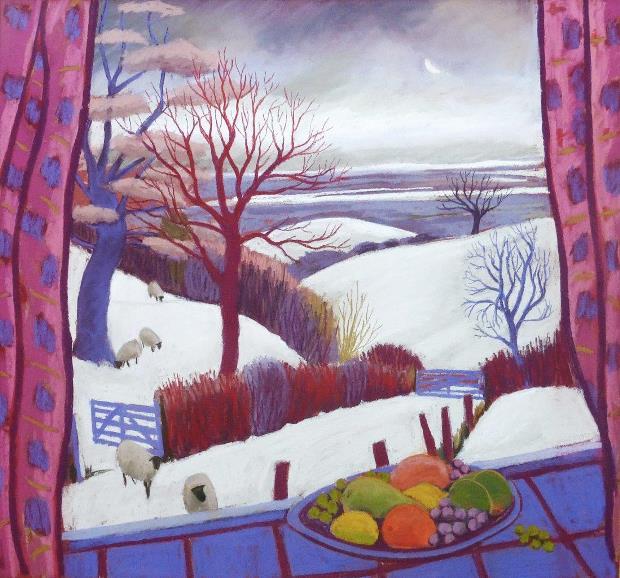 Sue Campion: 'Winter Window', pastel, 34x36
